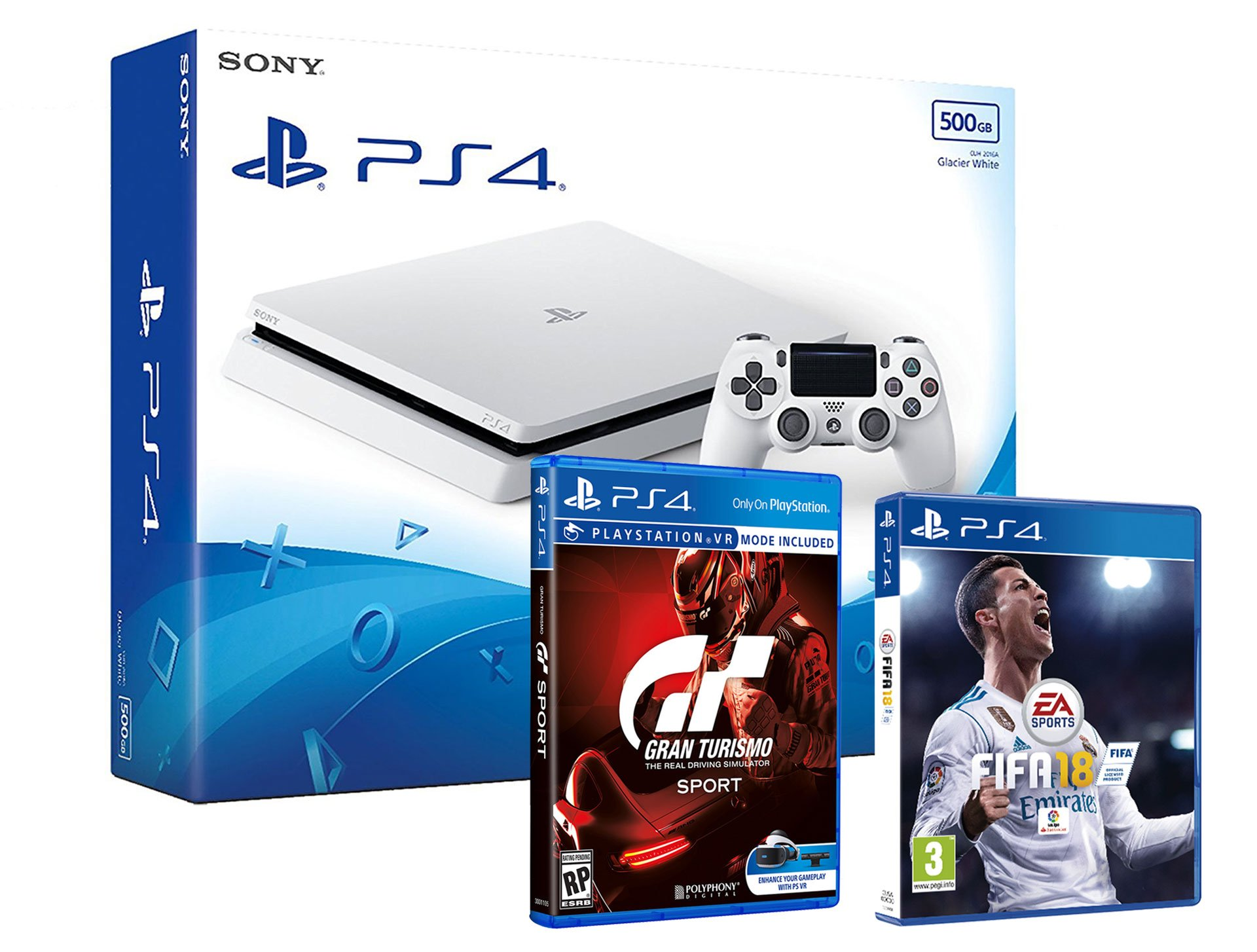 ps4 slim blanca consola 500gb pack 2 juegos fifa 18 gran turismo sport gt ebay. Black Bedroom Furniture Sets. Home Design Ideas