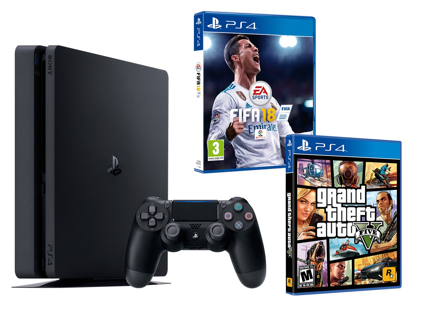 ps4 slim 1tb consola pack 2 juegos fifa 18 gta v ebay. Black Bedroom Furniture Sets. Home Design Ideas