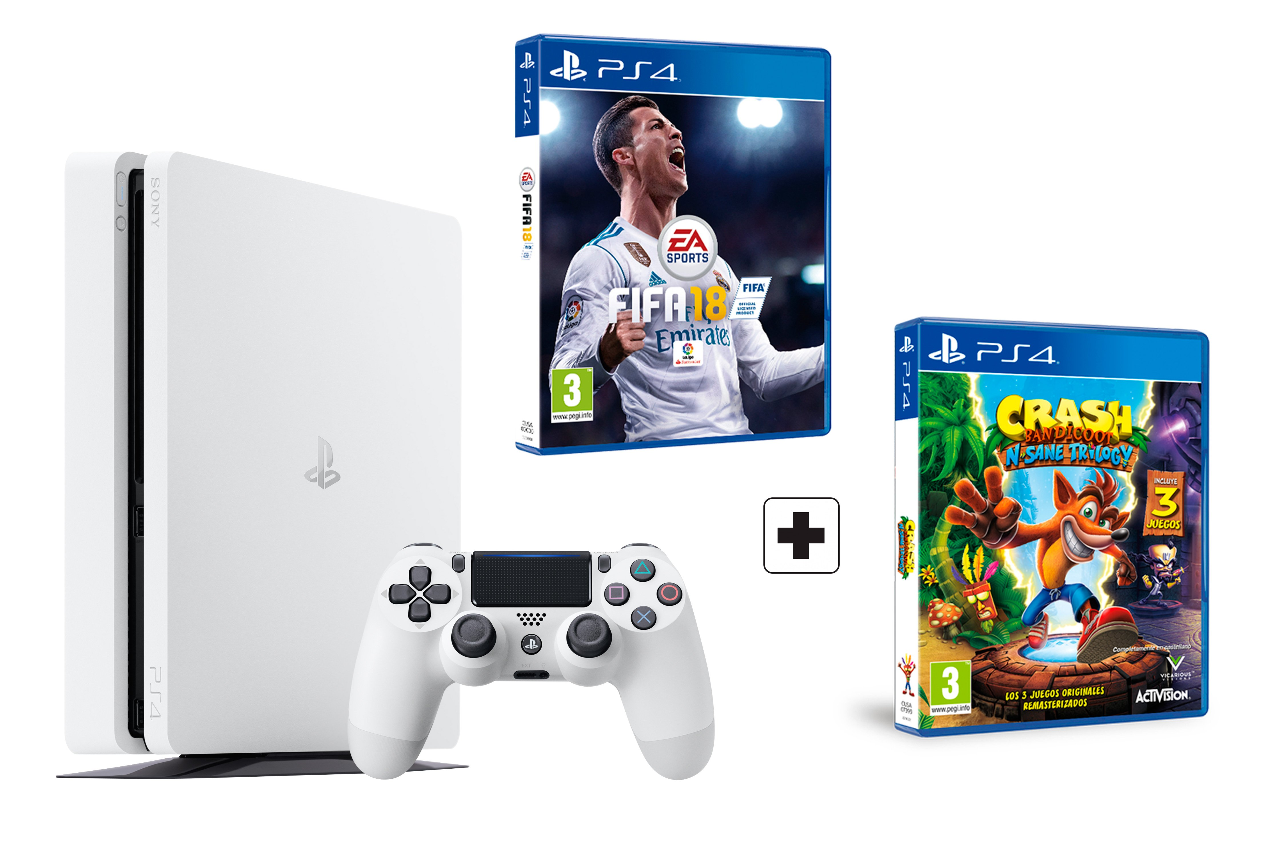 ps4 slim blanca consola 500gb pack 2 juegos fifa 18 crash bandicoot trilogy ebay. Black Bedroom Furniture Sets. Home Design Ideas